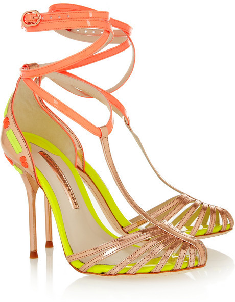 Webster Sophia Alicia patent and metallic leather sandals