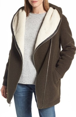 Women's Bcbgeneration Asymmetrical Hooded Wool Blend Coat $198 thestylecure.com