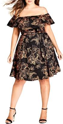 City Chic Floral Off the Shoulder Fit & Flare Dress