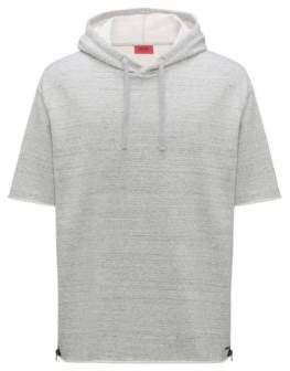 HUGO Boss Short-sleeved hooded sweatshirt zippered side seams S Open Grey
