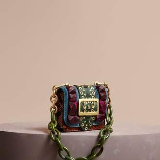 Burberry The Mini Square Buckle Bag in Velvet and Ostrich