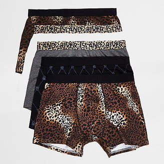 River Island Mens Brown leopard print trunks multipack