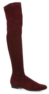 Robert Clergerie Fissal Suede Over-The-Knee Flat Boots $850 thestylecure.com