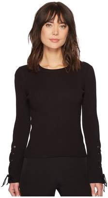 Vince Camuto Lace-Up Bell Sleeve Ribbed Sweater Women's Sweater