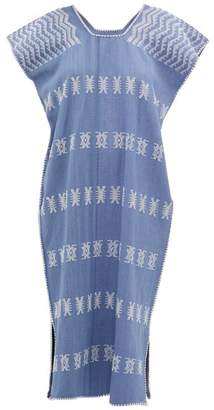 Pippa Holt - No.51 Embroidered Cotton Kaftan - Womens - Blue White