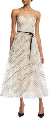 Monique Lhuillier Strapless Swiss Dot Midi Gown