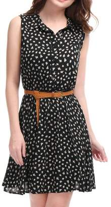 Unique Bargains Women Daisy Print Point Collar Sleeveless Unlined Belted Shirt Dress Black L