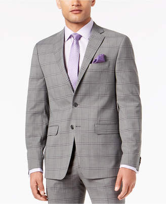 Sean John Closeout! Men's Slim-Fit Stretch Black/White Windowpane Suit Jacket