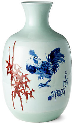 "One Kings Lane 19"" Bamboo and Rooster Vase - Blue/Red"