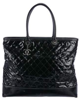Chanel Leather-Trimmed Quilted Tote Black Leather-Trimmed Quilted Tote