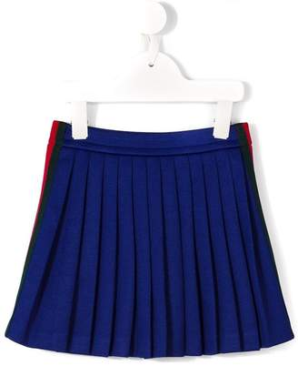 Gucci Kids Web piped pleated skirt