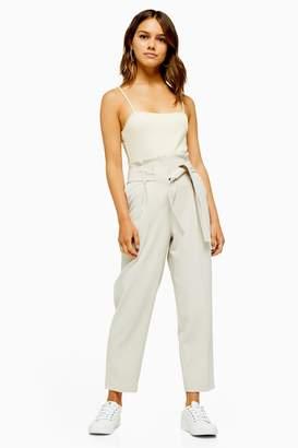 Topshop Womens Petite Stitch Belt Peg Trousers - Stone