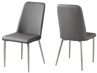 """Monarch Specialties DINING CHAIR - 2PCS / 37""""H / GREY LEATHER-LOOK / CHROME"""