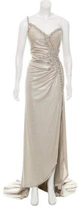 Terani Couture Embellished One-Shoulder Dress w/ Tags