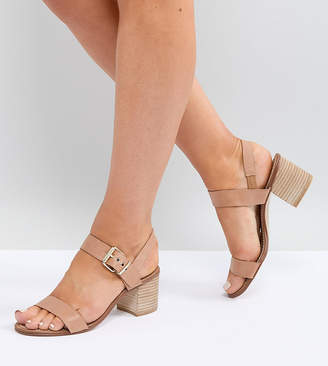 Dune Wide Fit Jany Leather Stack Heel Sandal