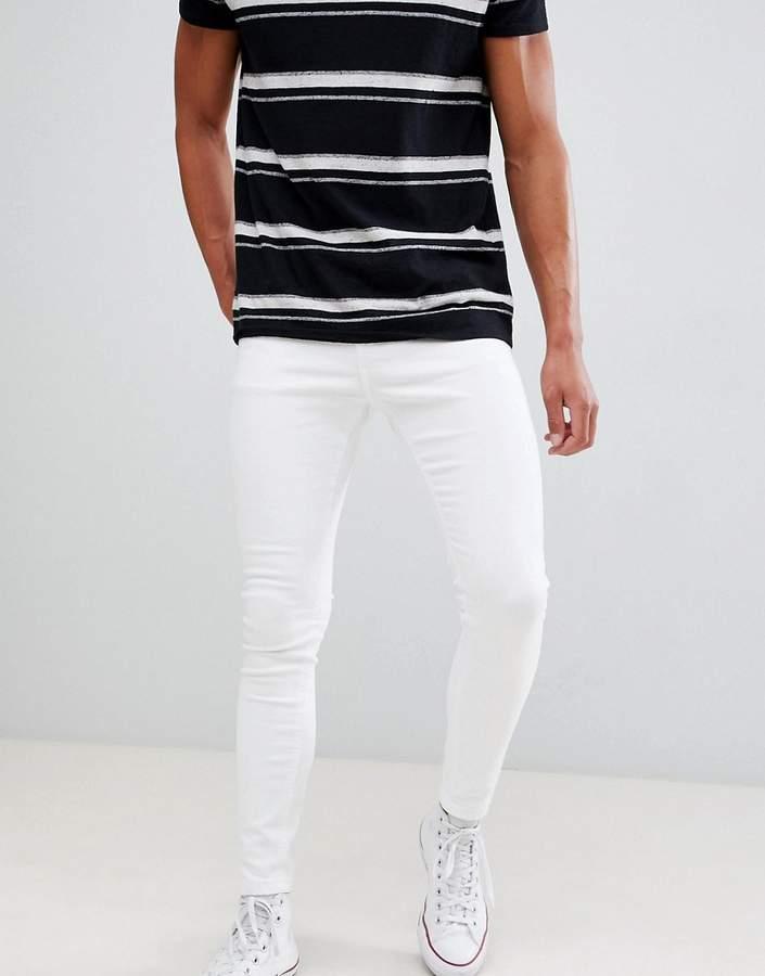 Bershka Super Skinny Jeans In White