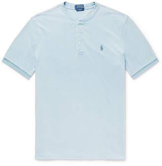 Polo Ralph Lauren Indigo-Dyed Mélange Cotton-Piqué Henley T-Shirt