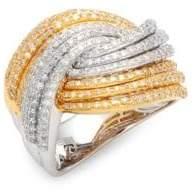 Effy Diamond, 14K White Gold & 14K Yellow Gold Crossover Ring