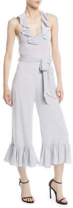 LIKELY Delphine Dot-Print Ruffle Jumpsuit