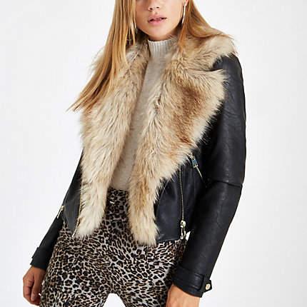 Womens Black faux fur trim biker jacket