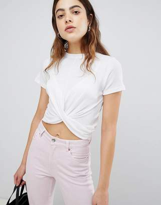 Brave Soul Twist Front Crop T Shirt