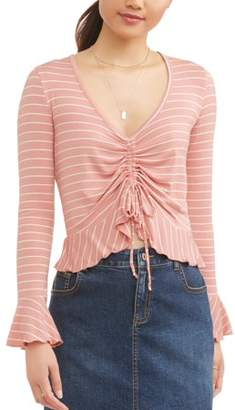 Self Esteem Juniors' Cinched Front Bell Sleeve Peasant Blouse