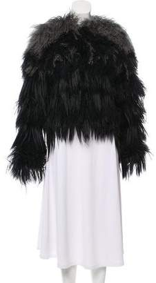 Fur Feather-Accented Shearing Jacket