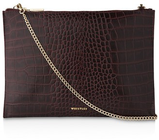 Whistles Shiny Croc-Embossed Chain Clutch $160 thestylecure.com