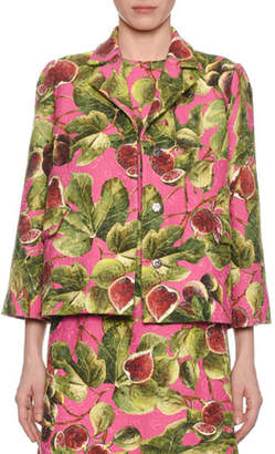 Dolce & Gabbana Fig-Print Boxy Brocade Jacket