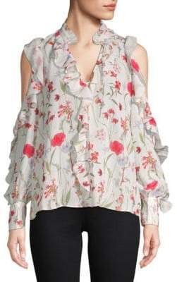 Parker Printed Ruffle Cold-Shoulder Top