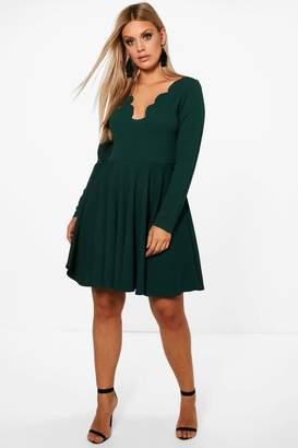 boohoo Plus Long Sleeved Scallop Skater Dress