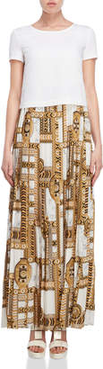 Versace Layered Marble Print Pleated Maxi Dress