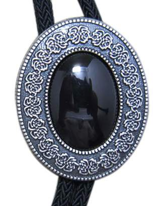Celtic JEAN'S FRIEND Vintage Black Agate Stone Bolo Tie With Sky Systems Fiber Rope