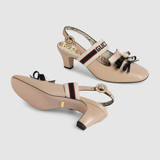 Gucci stripe mid-heel slingback pump