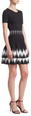 Maje Ralia Printed Fit-&-Flare Mini Dress