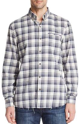 Joe's Jeans Frayed Plaid Long Sleeve Button-Down Shirt
