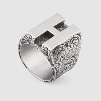 "Gucci ""H"" letter ring in silver"