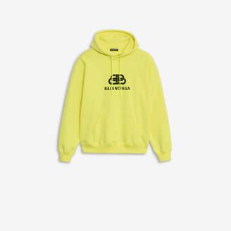 cdb896081b54 Balenciaga BB Back Pulled Hoodie in yellow and black printed fleece