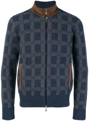 Doriani Cashmere checked high neck cardigan
