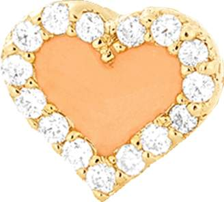Alison Lou Coral Enamel And Diamond Heart Stud