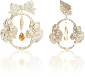 Rodarte Silver Bow and Leaf Baroque Earrings with Swarovski Crystal Details