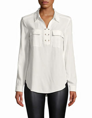 Jones New York Lace-Up Front Blouse