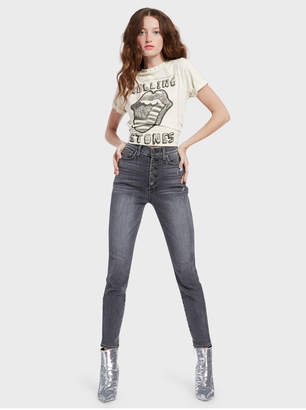 Alice + Olivia Good High Rise Exposed Button Skinny Jean