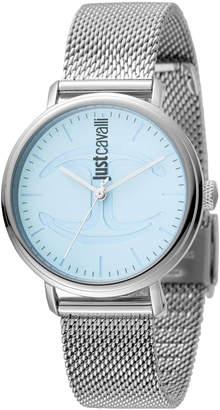 Just Cavalli 34mm CFC Stainless Steel Bracelet Watch w/ Mesh Strap, Blue