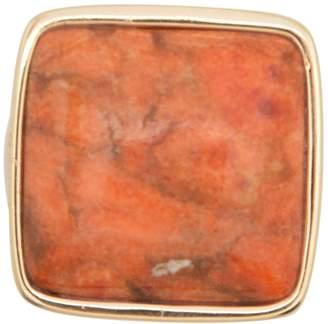Barse Bronze Textured Bezel Set Square Coral Ring