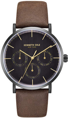 Kenneth Cole New York Men's Black Leather Strap Watch 42mm