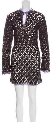 Tory Burch Crocheted Long Sleeve Mini Dress