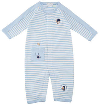 Kissy Kissy Fall Sports Striped Embroidered Coverall, Size 3-24 Months