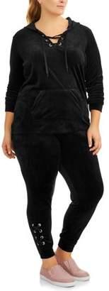 ONLINE Women's Plus Velour Lace Up Track Suit