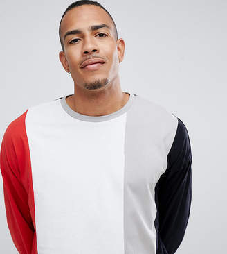 Asos DESIGN Tall oversized longline long sleeve t-shirt with vertical color block